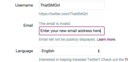 how to change your email address in twitter